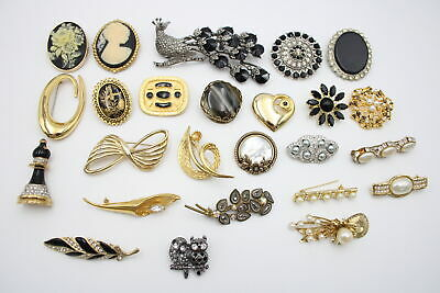 25 X Vintage & Retro BROOCHES Inc. Faux Pearl, 1980s, Scarf Clip • 2.20£