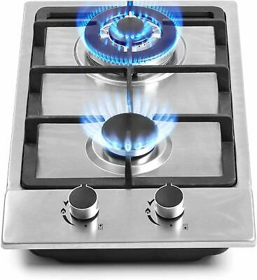 AU100.59 • Buy 12  Gas Cooktops, 2 Burner Drop-in Propane/Natural Gas Cooker, 12 Inch Stainless