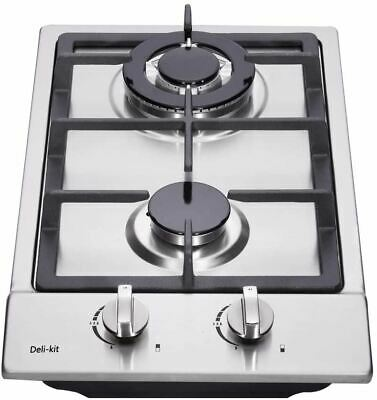 AU154.75 • Buy Deli-kit 12 Inch Gas Cooktop Dual Fuel Sealed 2 Burners Stainless Steel Gas Cook