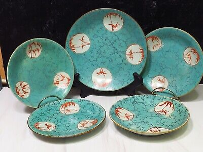 $ CDN206.22 • Buy 5 FINE Antique Chinese Iron Red Turquoise Porcelain Plates QIANLONG C1735-96