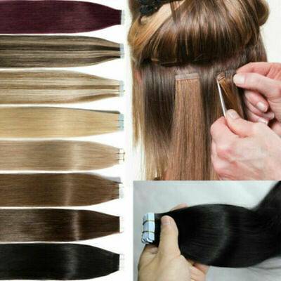 Tape In Human Hair Extensions Remy Russian Hair Skin Weft Ombre Highlight 20-40P • 13.68£