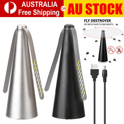 AU18.90 • Buy Outdoor Automatic Fly Trap Fly Repellent Fan Keep Flies+Bugs Away From Food Home