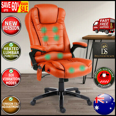 AU186.64 • Buy PU Leather Office Massage Chair 8 Point Vibration Lumber Support Reclining Seat