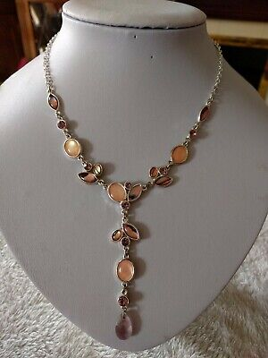 AU2.67 • Buy M&S Dainty Necklace In Silver Tone And Peach