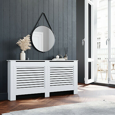 £59.51 • Buy XL Size Floor Standing Radiator Cover MDF White Horizontal Grille Wood Cabinet