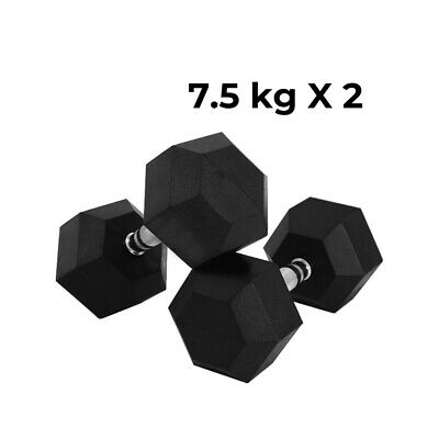 AU61.99 • Buy Verpeak Rubber Hex Dumbbells 7.5kg X2 Weight Lifting Fitness Home Gym Sports