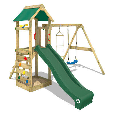 £399.95 • Buy Wooden Climbing Frame WICKEY FreeFlyer - Swing Set With Green Slide And Sandpit