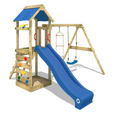 £399.95 • Buy Wooden Climbing Frame WICKEY FreeFlyer - Swing Set With Blue Slide And Sandpit