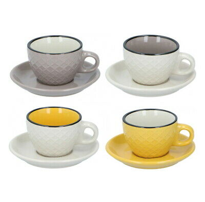 £19.99 • Buy Coloured Cappuccino Cups And Saucers Set Ceramic Coffee Tea Cups Set Of 4 200ml
