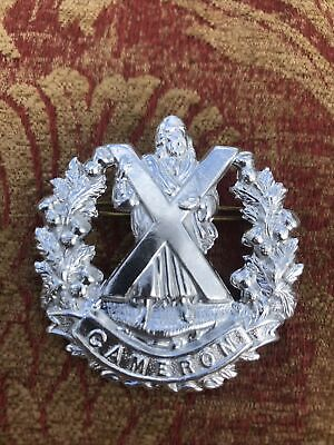 Original Anodised/Stay Bright Cap Badge Of The Cameron Highlanders. • 9.89£