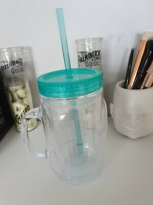 Plastic Turquoise Teal Blue Drinking Jar Cup W Straw And Lid (Summer/Festival) • 1£