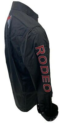 $34.97 • Buy Mens RODEO WESTERN BLACK RED STITCH Long Sleeve Woven SNAP UP Shirt Cowboy 550