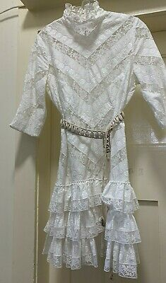 AU280 • Buy Zimmermann Cotton Embroidered And Lace Insert Fitted& Ruffle Dress & Slip Size 3