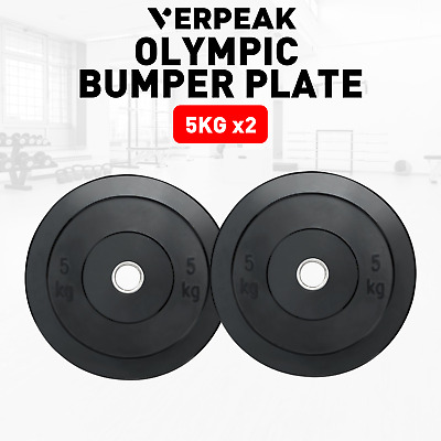 AU78.39 • Buy Verpeak Olympic Bumper Weight Plates 5 KG X2 Rubber Fitness Workout Home Gym