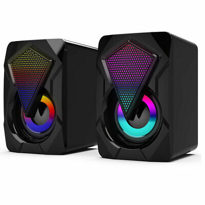 £10.55 • Buy Surround Sound System RGB LED PC Speakers Bass USB Wired Gaming Desktop Computer