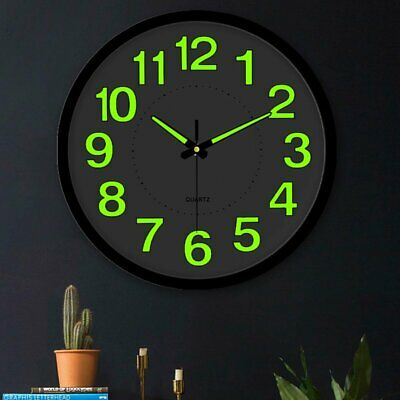 AU26.90 • Buy 12'' Luminous Wall Clock Glow In The Dark Silent Quartz Indoor Home Modern Clock