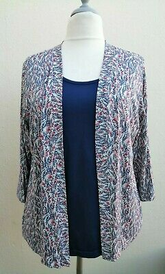 Cotswold Collection Size 20-22 2xl Blue Floral Edge To Edge 2-in-1 Top+jacket • 14.99£