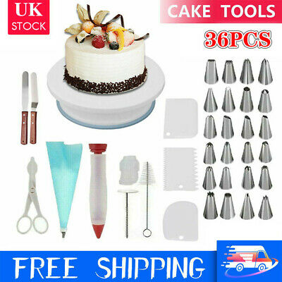 £11.98 • Buy 36 X Cake Decorating Turntable Set Tools Mould Stainless Spatula Baking Nozzles