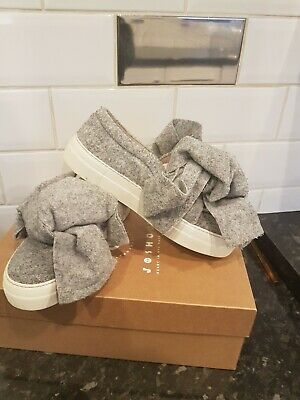 £35 • Buy JOSHUA SANDERS Grey Felt Bow Front Trainers Shoes Sneakers Womens Genuine Size 5