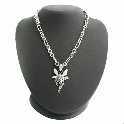 $ CDN13.16 • Buy QVC SOLD OUT Kirks Folly Love & Laugh Fairy 16  Figaro Silvertone Necklace
