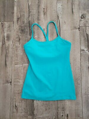 $ CDN12.49 • Buy Lululemon Women Size 4 Turquoise Power Y Tank Yoga/ Running/Workout Slight Spot