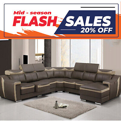 AU3649 • Buy Olivia 7 Seater Leather Modular Corner Lounge Suite With Extensible Seats And Ch