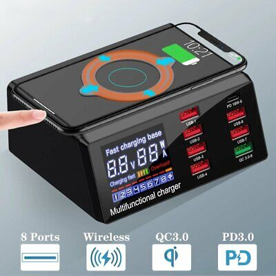 AU47.90 • Buy 100W 8 Ports USB Charger Quick Charge Fast Wireless Charging Station HUB AU