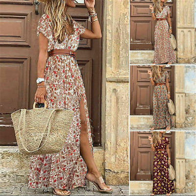 £12.99 • Buy Women Beautiful Summer Floral Long Maxi Dress Ladies V Neck Boho Beach Holiday