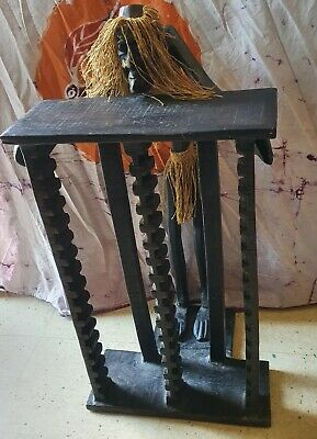 £24.99 • Buy One Of A Kind Carved Wooden Tribal Ethnic African Man Stand/Statue CD Rack