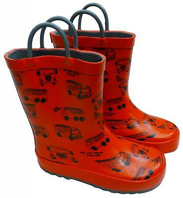 £10.99 • Buy Boys Wellies Red Fire Truck Wellington Boots Child Welly UK Shoe Sizes 6 To 11