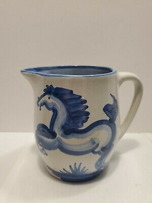 $14.95 • Buy M.A. Hadley Pottery 5  WHOA! Blue Rearing Horse Pitcher Signed