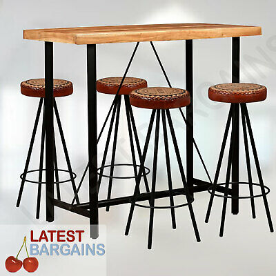 AU634.90 • Buy 5 Piece Bar Set Table & Stool Chair Seat Dining Kitchen Furniture