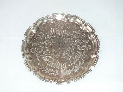£16.99 • Buy Vintage Cavalier Silver Plated 10  Round Scallopped Edged Serving Tray Wedding