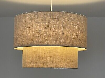 £70 • Buy Two Tier 100% Linen Drum Lampshade Ceiling Light Shade Choice Of Colours