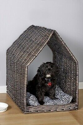 £25 • Buy MED  Rattan Real Wicker Pet Dog Bed Basket House With Pillow COLLECT ONLY CW1