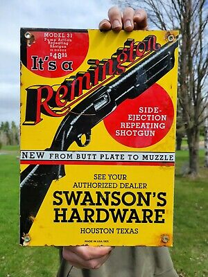 $ CDN13.12 • Buy Vintage Dated 1931 Remington Firearms Porcelain Sign Winchester Hardware Ammo