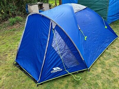 AU104.72 • Buy Trespass 4 Man 1 Room Dome Tent Family Camping Shelter Festival Hiking