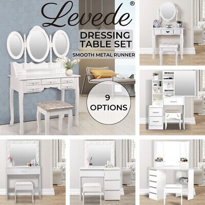 AU159.99 • Buy [20%OFF]Levede Dressing Table Stool Mirrors Jewellery Cabinet Makeup Organizer