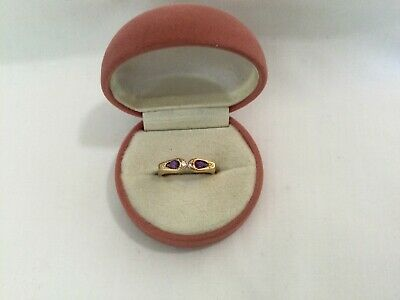 AU375 • Buy Amethysts And Diamond Set 9ct Yellow Gold Ring