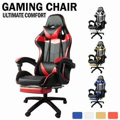 AU91.19 • Buy Adjustable Gaming Chair Office Executive Computer Racing Footrest Recliner AU