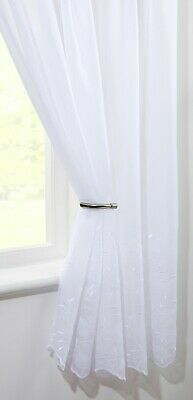 £7.99 • Buy CLEARANCE   Geneva White  Single Voile Patterned Panels Slot Top - Free Postage