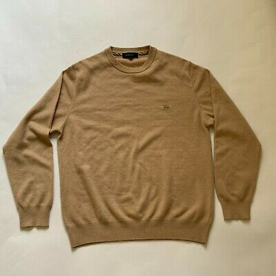 $40 • Buy BURBERRY LONDON Men Sweater 100% Lambswool Beige Nova Check Embroidered Size 5