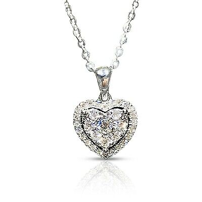 £2.79 • Buy Heart Crystal Pendant 925 Sterling Silver Chain Necklace Womens Ladies Jewellery