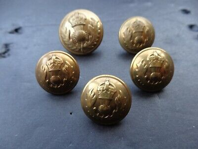£5 • Buy 5 X Royal Scottish Fusiliers Officers Buttons (gilt)(1 X 25mm & 4 X 20mm)(rim)(3