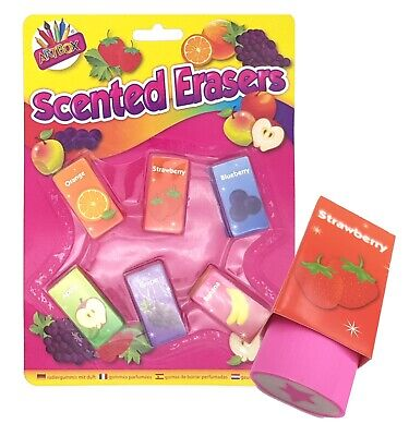 £2.99 • Buy  Fruit Scented Erasers Rubbers - Pack Of 6 Kids Party Bag Filler Toy UK Stockist