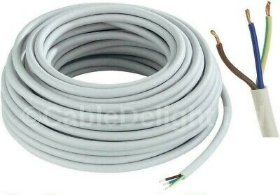 £1.29 • Buy 3 CORE ELECTRICAL FLEX WHITE ROUND CABLE   0.75mm - 2.5mm  In 2/5/10/20m Lengths