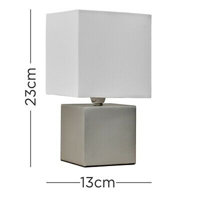 £9.99 • Buy Modern Touch Table Lamp Silver / Grey Cube Base Lighting Bedside Light