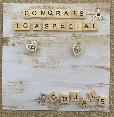 £15.99 • Buy Personalised Wedding Scrabble Letter Box Frame Picture - Handmade Present Family