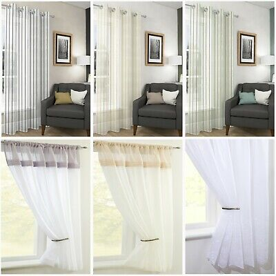 £9.99 • Buy CLEARANCE  Assorted Voile Panels Ring And Slot Top - Free Postage