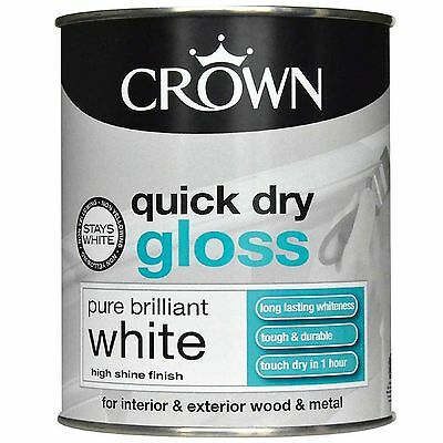 £11.49 • Buy Crown Quick Dry Gloss Pure Brilliant White - Wood & Metal - Paint  750ml
